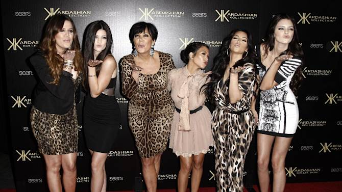 """FILE - In this Aug. 17, 2011 file photo, from left, Khloe Kardashian, Kylie Jenner, Kris Jenner, Kourtney Kardashian, Kim Kardashian, and Kendall Jenner arrive at the Kardashian Kollection launch party in Los Angeles. The Kardashians will visit Oprah Winfrey when """"Oprah's Next Chapter"""" airs this Sunday, June 17 at 8p.m. EST on OWN.  (AP Photo/Matt Sayles, file)"""