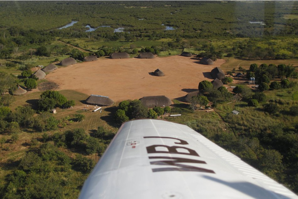 An aerial view of the Yawalapiti village is seen in the Xingu National Park