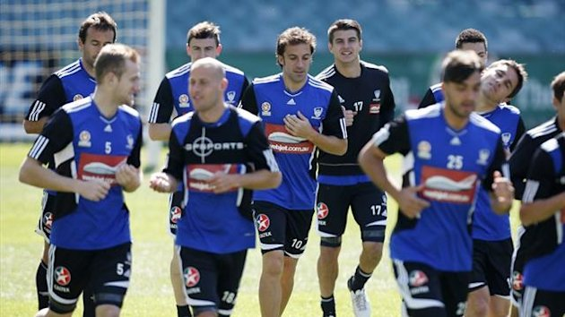 Alessandro Del Piero warms up with team-mates at Sydney Football Stadium during his first training session with new club Sydney FC (Reuters)
