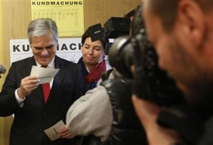 Austrian Chancellor Faymann and his wife Martina arrive…