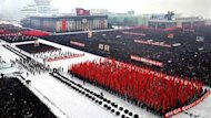 "A mass rally is held in support of North Korea's new leader Kim Jong-Un at Kim Il-Sung Square in Pyongyang on January 3, 2012. The North has hailed Jong-Un as ""great successor"" and appointed him military chief since his father and longtime leader Kim Jong-Il died on December 17"