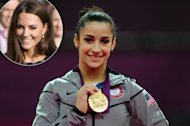 Aly Raisman poses on the podium during the medal ceremony for the Artistic Gymnastics Women&#39;s Floor Exercise final at the London 2012 Olympic Games on August 7, 2012, inset: Kate Middleton -- Getty Images