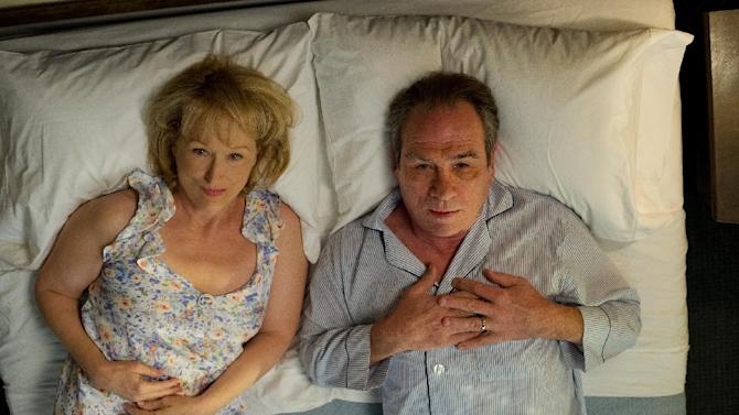 """This film image released by Columbia Pictures shows Meryl Streep as Kay Soames, left, and Tommy Lee Jones as Arnold Soames in a scene from """"Hope Springs."""" (AP Photo/Columbia Pictures-Sony, Barry Wetcher)"""