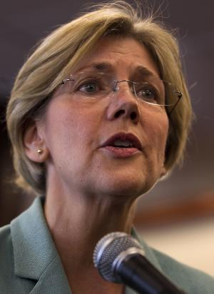 Democratic candidate for the U.S. Senate Elizabeth Warren faces reporters during a news conference at Liberty Bay Credit Union headquarters, in Braintree, Mass., Wednesday, May 2, 2012. Warren responded to questions on her Native American heritage. (AP Photo/Steven Senne)
