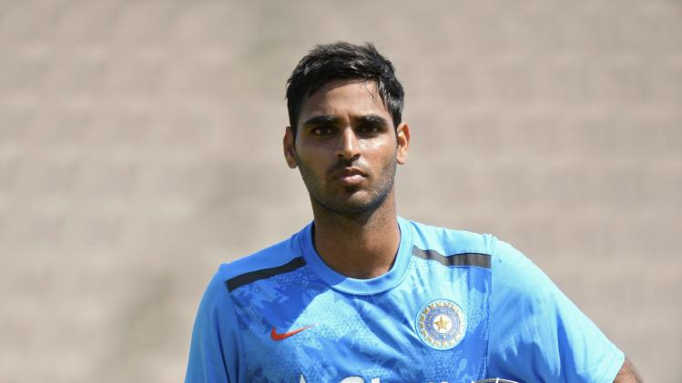 India's Kumar looks on during a training session before the third cricket test match against England at the Rose Bowl cricket ground, Southampton