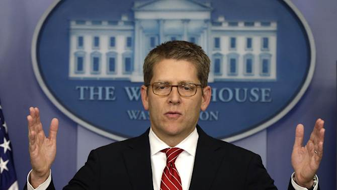 White House press secretary Jay Carney briefs reporters at the White House in Washington, Tuesday, Dec. 18, 2012. (AP Photo/Charles Dharapak)