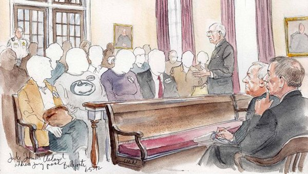 A court sketch shows Judge John M. Cleland addressing the jury pool on Tuesday.