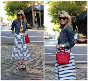 Denim Jackets, Stripes, and a Side Purse
