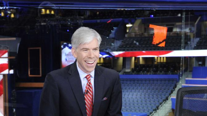 "This Aug. 26, 2012 photo released by NBC shows host David Gregory from ""Meet the Press"" during the Republican National Convention in Tampa, Fla. Gregory has re-upped as host of ""Meet the Press."" The network is sharing no details, but on Thursday, Feb. 21, 2013, described the new deal as ""a long-term commitment.""  The 42-year-old Gregory began as host of the Sunday morning public-affairs program in December 2008. He succeeded the late Tim Russert.  (AP Photo/NBC, Virginia Sherwood)"