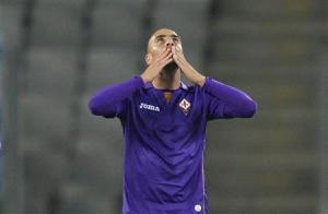 Fiorentina's Valero celebrates after scoring a goal against Pandurii Targu-Jiu during their Europa League match in Cluj Napoca