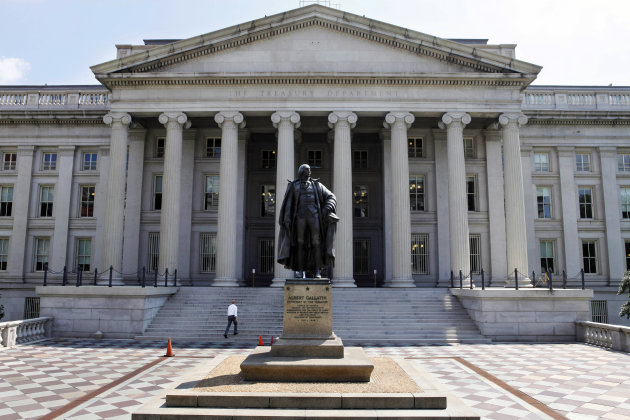<p> FILE - In this Monday, Aug. 8, 2011 file photo, a statue of former Treasury Secretary Albert Gallatin stands outside the Treasury Building in Washington. The Treasury reports on the federal budget deficit for May, on Wednesday, June 12, 2013. (AP Photo/Jacquelyn Martin, File)