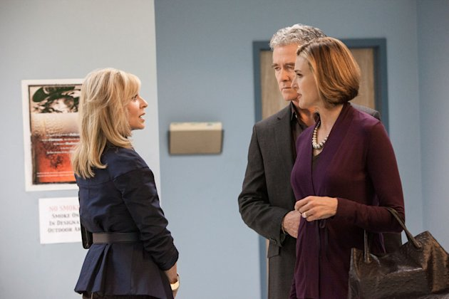 Judith Light, Patrick Duffy and Brenda Strong in the &quot;Dallas&quot; Season 2 episode, &quot;Sins of the Father.&quot;