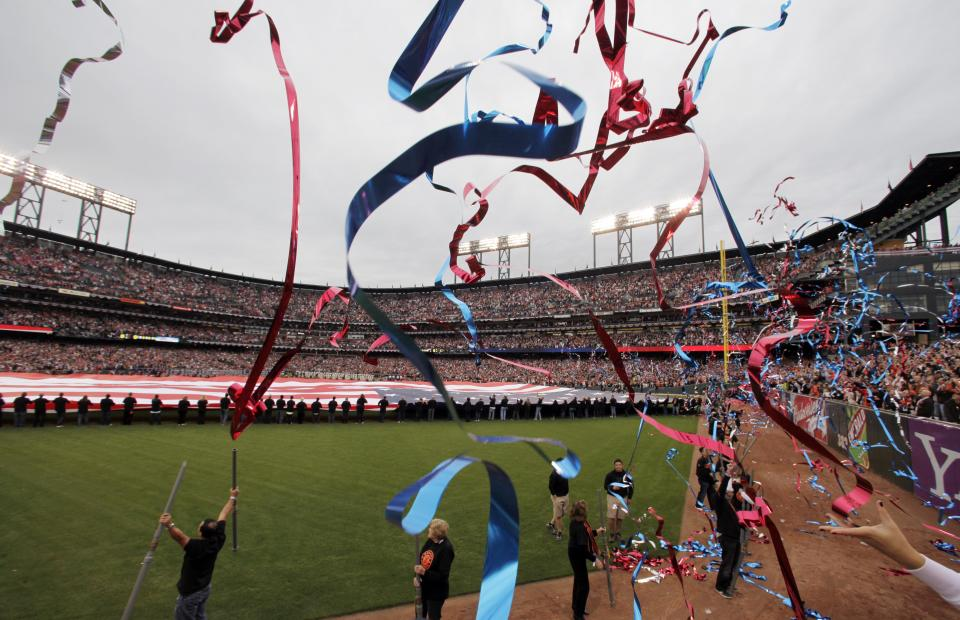 Streamer fly in the outfield before Game 1 of baseball's World Series between the San Francisco Giants and the Texas Rangers Wednesday, Oct. 27, 2010, in San Francisco. (AP Photo/Eric Gay)