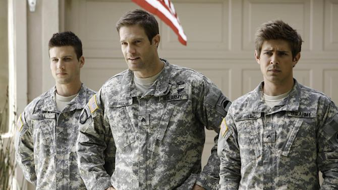 "This undated publicity photo released by Fox shows, from left, Parker Young, Geoff Stults and Chris Lowell, starring in the comedy ""Enlisted."" Fox said Thursday, Sept. 12, 2013, it's moving the premiere of the new sitcom to January 2014. (AP Photo/Fox, Jordin Althaus)"