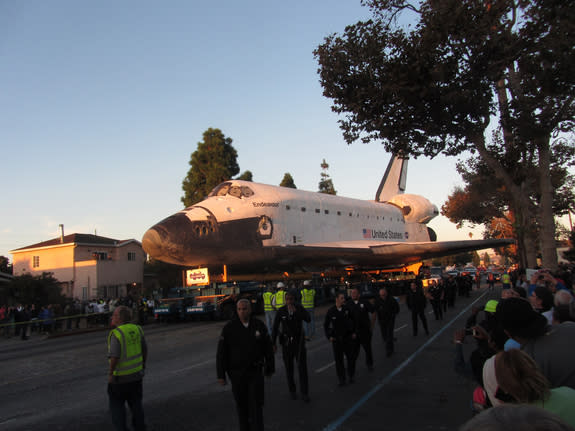 Space Shuttle Endeavour Arrives at Its New L.A. Museum Home