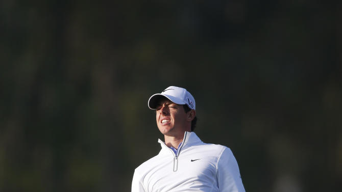 Rory Mcllroy reacts to a shot on the 12th hole the during the second round of the Houston Open golf tournament, Friday, March 29, 2013 in Humble, Texas. (AP Photo/Jon Eilts)