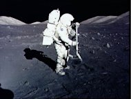 <p>This file photo shows astronaut Harrison Schmitt collecting rock samples at the Taurus-Littrow landing site on the moon, during the Apollo 17 mission, the most recent human moon-landing, in 1972.</p>