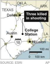 Map locates College Station, Texas where three people were killed in a shooting