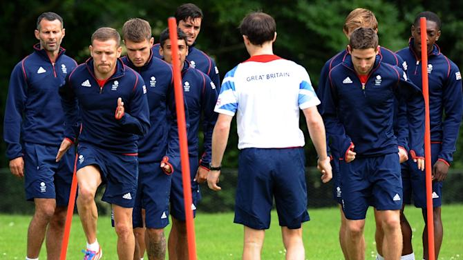 Great Britain's men's squad during a training session in Ashby-de-la-Zouch on July 9, 2012 ahead of the 2012 Olympic Games