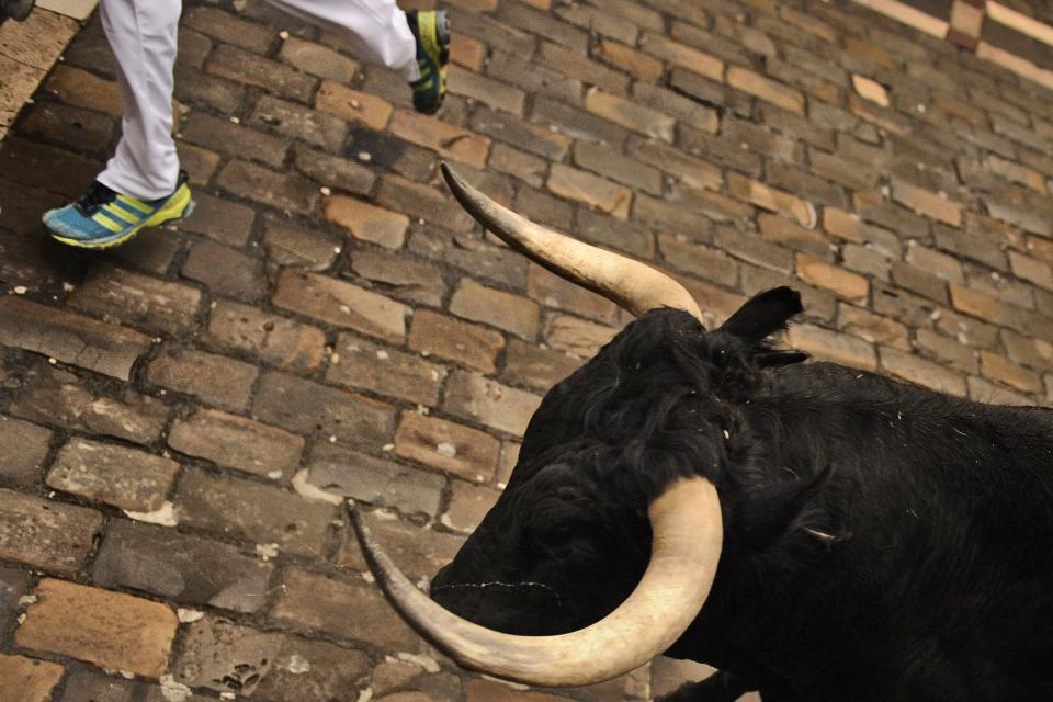 A reveler runs in front of a Cebada Gago's ranch fighting bull during the running of the bulls of the San Fermin festival, in Pamplona, Spain, Monday, July 9, 2012.(AP Photo/Daniel Ochoa de Olza)