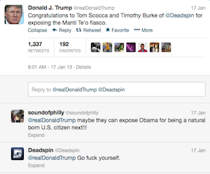 Deadspin to Donald Trump: 'Go F--- Yourself'