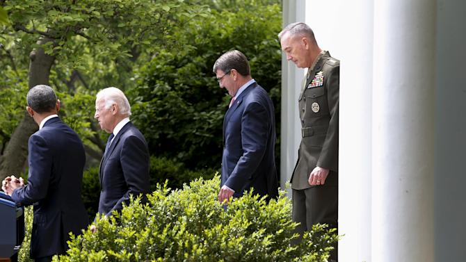 Dunford arrives with Obama, Biden and Carter for Obama to introduce Dunford as his nominee to be the next chairman of the Joint Chiefs of Staff, in the Rose Garden at the White House in Washington