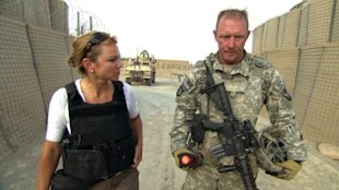 Lara Logan with Army Captain John Hintz in Afghanistan in 2010. Photo from CBS News