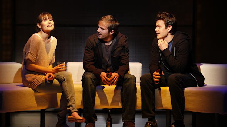 "In this publicity photo released by Sam Rudy Media Relations, from left, Liz Stauber, Michael Stahl-David and Tom Lipinski are shown in 'Picked"" performing off-Broadway at the Vineyard Theatre in New York. (AP Photo/Sam Rudy Media Relations, Carol Rosegg)"