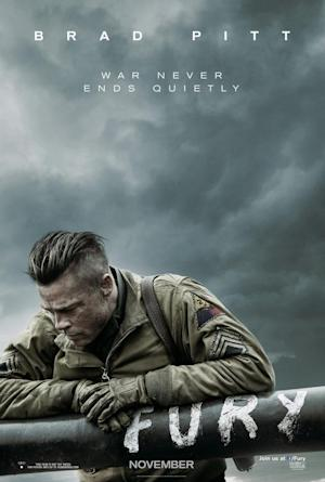 """Brad Pitt leans against his tank's barrel on the promotional poster for """"Fury."""""""