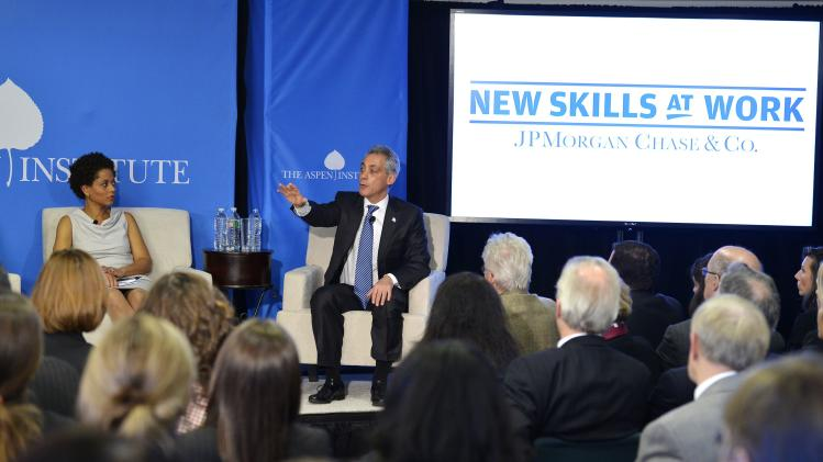 "Chicago Mayor Rahm Emanuel speaks at the Aspen Institute's ""Closing the Workforce Skills Gap"" seminar"