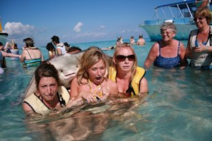 unhappy women with stingray photo bomb