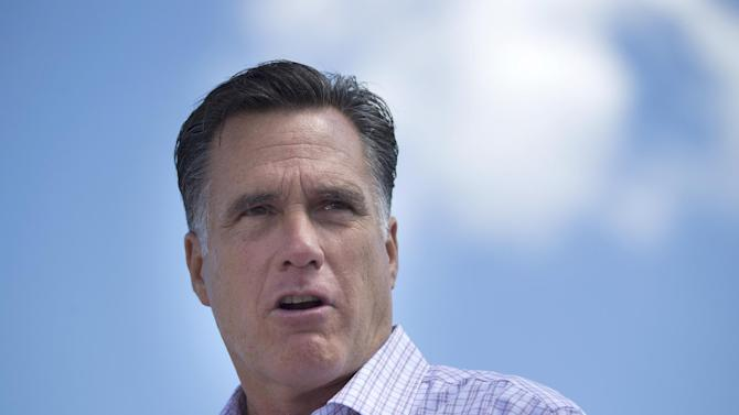 Republican presidential candidate, former Massachusetts Gov. Mitt Romney speaks during a campaign stop at the Scamman Farm in Stratham, N.H., Friday, June 15, 2012.  (AP Photo/Evan Vucci)