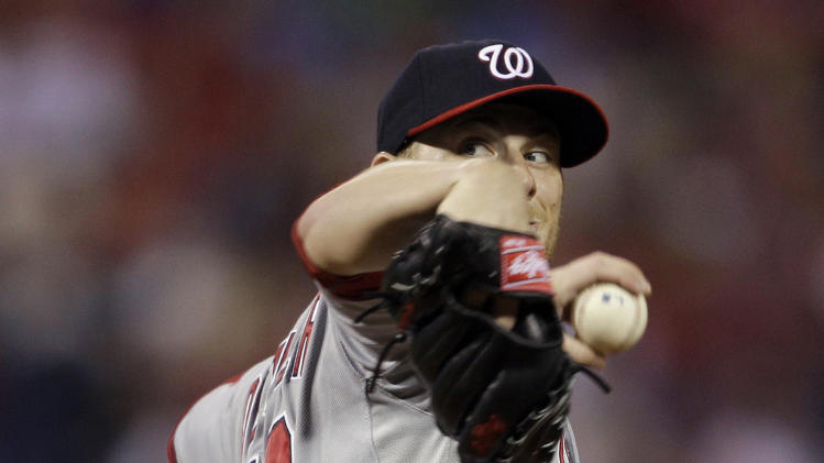 Washington Nationals' Ross Detwiler pitches during the first inning of the second game a baseball doubleheader against the Philadelphia Phillies, Tuesday, Sept. 20, 2011, in Philadelphia. (AP Photo/Matt Slocum)