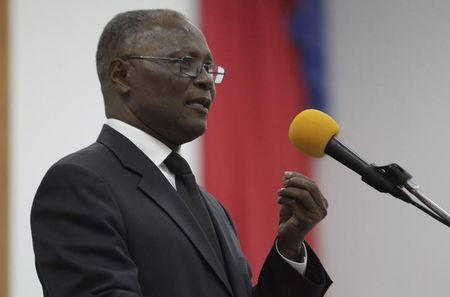 Provisional president candidate Jocelerme Privert gives his speech in the Special Bicameral Commission for the election of the provisional President of the Republic in the Haitian Parliament in Port-au-Prince, Haiti