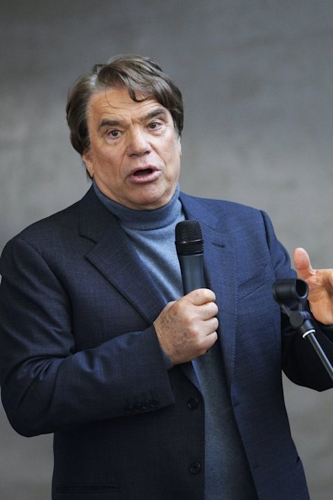 Bernard Tapie addresses employees at the Nice Matin newspaper group in Bastia, on March 13, 2013
