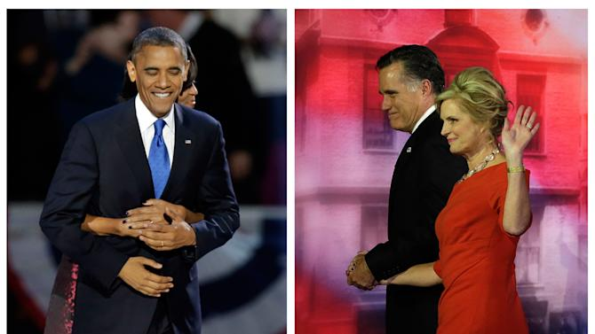 In this two picture combination, on the left, President Barack Obama gets a hug from first lady Michelle Obama at his election night party in Chicago, and on the right Republican presidential candidate and former Massachusetts Gov. Mitt Romney and his wife Ann walk off the stage after Romney conceded the race during his election night rally in Boston., Wednesday, Nov. 7, 2012. (AP Photo)
