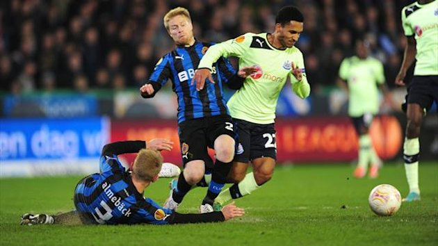 Newcastle United's Sylvain Marveaux (right) battles with Club Brugge's Michael Almeback (3) and Tom Hogli