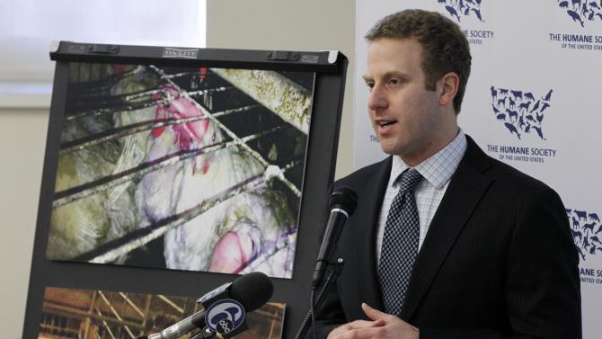 Josh Balk, a spokesman for The Humane Society of the United States, speaks during a news conference Thursday, April 12, 2012, in Philadelphia. Balk says undercover investigators have found deplorable conditions at a central Pennsylvania egg farm. (AP Photo/Matt Rourke)