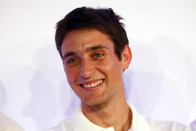 French Nordic combined athlete and flag-bearer Jason Lamy-Chappuis attends a presentation of the French Olympic team in Paris for the 2014 Winter Olympics in Sochi