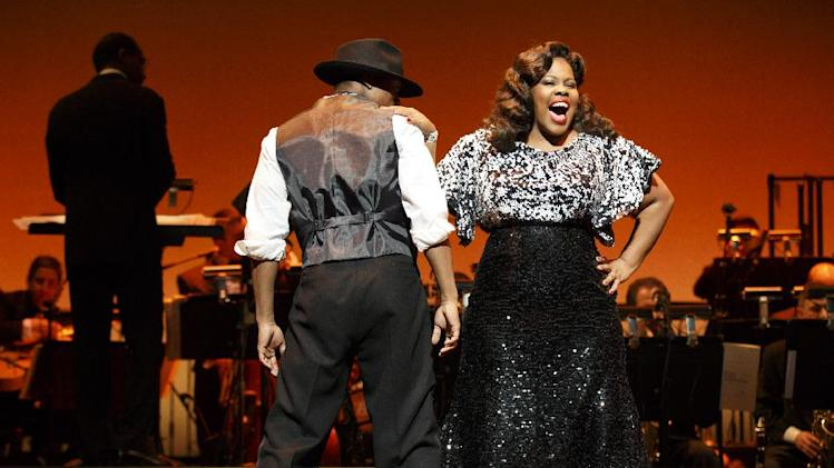 "This theater image released by Helene Davis Public Relations shows Amber Riley during a performance in ""Cotton Club Parade,"" running through Nov. 18, at New York City Center. (AP Photo/Helene Davis Public Relations, Joan Marcus)"