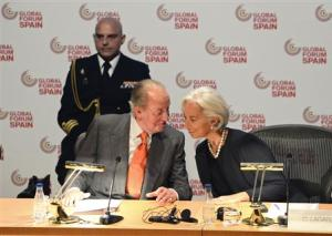 Spanish King Juan Carlos and IMF Managing Director Lagarde attend the Global Forum Spain economic conference in Bilbao