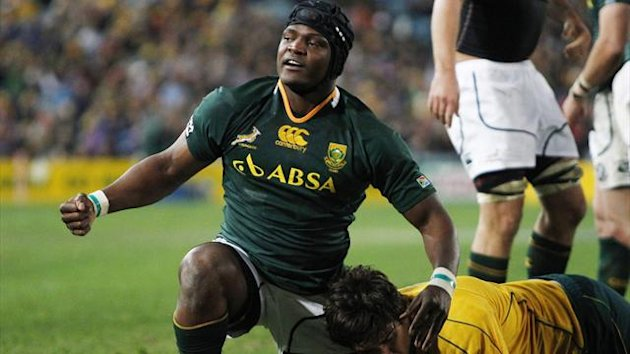 Chiliboy Ralepelle of South Africa's Springboks celebrates scoring a try (Reuters)
