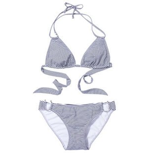 Galore Bikini Top and Blush Bottoms in Navy Stripe Violet Lake