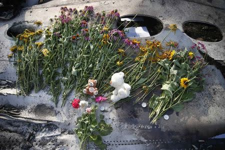 File photo of flowers and mementos left by local residents lying on wreckage at the crash site of Malaysia Airlines Flight MH17, near the settlement of Grabovo in the Donetsk region
