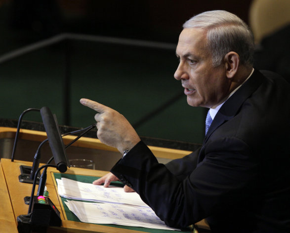 Israeli Prime Minister Benjamin Netanyahu addresses the 66th United Nations General Assembly at U.N. headquarters, Friday, Sept. 23, 2011. (AP Photo/David Karp)