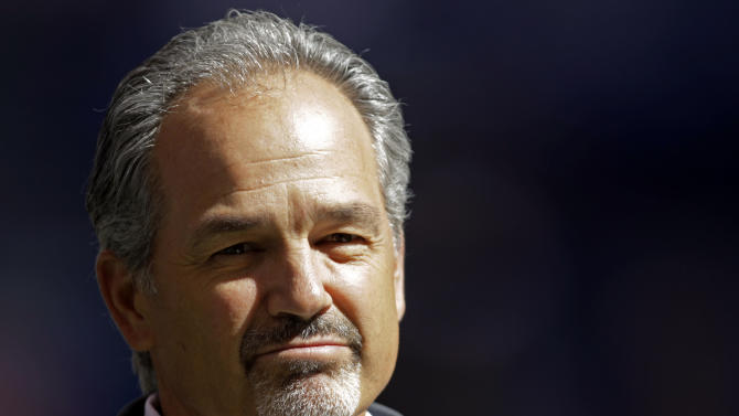 FILE - In this Sept. 23, 2012, file photo, Indianapolis Colts head coach Chuck Pagano appears before an NFL football game against the Jacksonville Jaguars in Indianapolis. In a somber news conference on Monday, Oct. 1, the Colts announced that their new coach had been hospitalized for cancer treatment and probably would not return to full coaching duties this season. He will be replaced on an interim basis by offensive coordinator Bruce Arians. (AP Photo/AJ Mast, File)