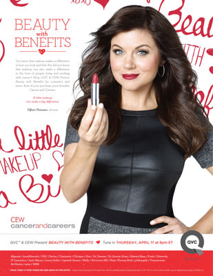 "Tiffani Thiessen stars in public service announcement for ""QVC and CEW Present Beauty with Benefits"" to benefit Cancer and Careers. Tune in April 17 at 8 PM (ET) to shop the show for a good cause."