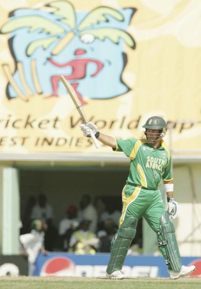 ST KITTS,  WEST INDIES - MARCH 16:  Mark Boucher of South Africa celebrates his 50 during the ICC Cricket World Cup 2007 Group A match between Netherlands and South Africa at Warner Park on March 16,