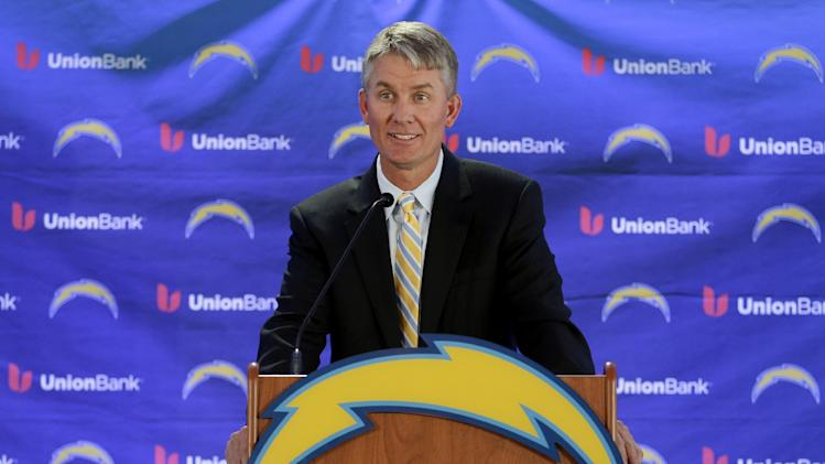 New San Diego Chargers head coach Mike McCoy speaks during an NFL football news conference, Tuesday, Jan. 15, 2013, in San Diego. The former offensive coordinator for the Denver Broncos replaces Norv Turner, who was fired along with general manager A.J. Smith after the Chargers finished 7-9 and missed the playoffs for the third straight season. (AP Photo/Gregory Bull)