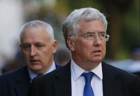 Britain's Secretary of State for Defence Michael Fallon leaves 10 Downing Street after a COBR meeting in central London